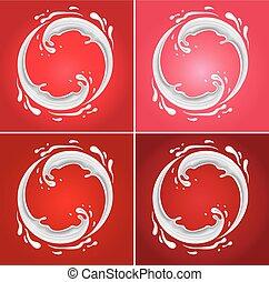milk circle splash on different red background