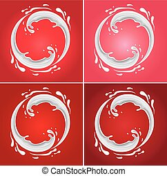 milk circle splash on different red background