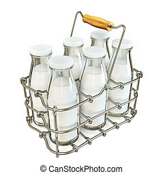milk - bottle milk in a metal  basket isolated on a white.