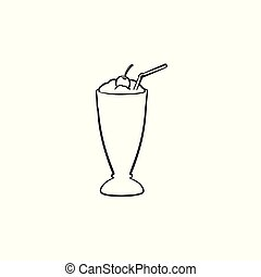Milk cocktail in tall glass hand drawn sketch icon