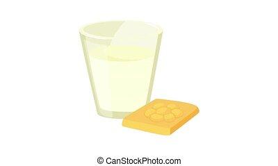 Milk cookie animation of cartoon icon on white background