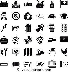Milk cow icons set, simple style