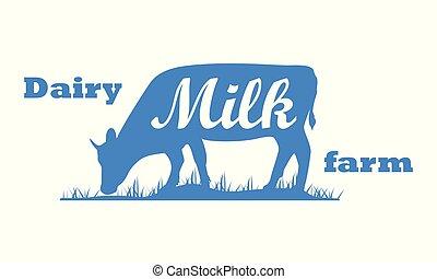 Milk, cow. Logo with cow silhouette, text Milk, Dairy farm