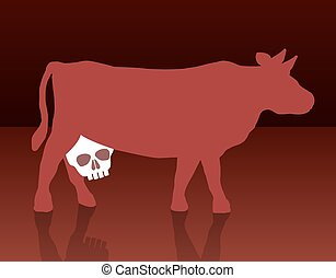 A cow with a skull instead of an udder, as a symbol for health problems concerning the consumption of milk and dairy products. Vector illustration.