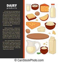Milk dairy products farm food cheese and milk - Dairy...