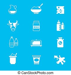 Milk, dairy products vector icons set