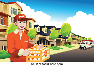 Milk delivery man delivering to a house