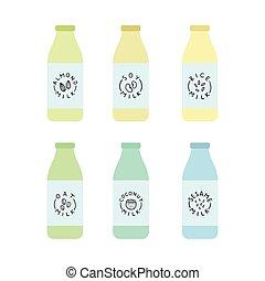milk., dokumentowany, roślina, butelki