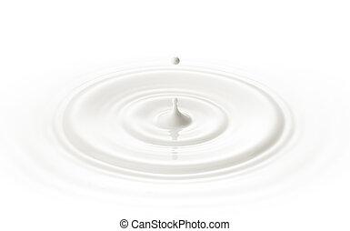 milk drop - milk or white liquid drop created ripple