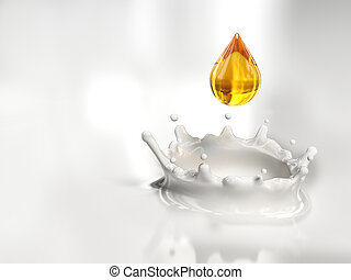 Milk drop - Veri high resolution rendering of a golden drop ...