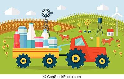 Milk Eco Farm Concept Vector in Flat Style Design