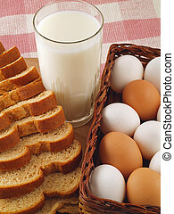 Milk, Eggs, and Bread - The Staples - A glass of milk, a...