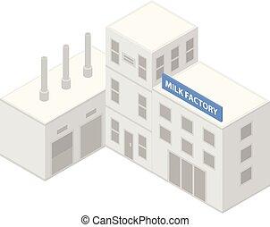 Milk factory icon, isometric style