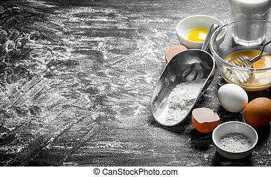 milk., farinha, ovos, assando, experiência.