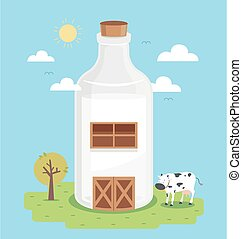 Illustration of a Farm Barn Made from a Bottle of Milk with Tree and Cow