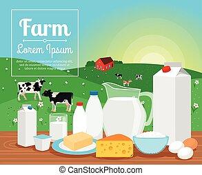 Milk farm dairy products