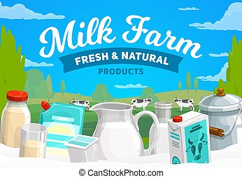 Milk farm, dairy products vector banner. Condensed and baked milk in glass pitcher, bottle and can, mayonnaise and sour cream plastic pouch, yogurt. Cows glazing on meadow. Natural dairy farm poster