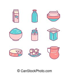 Milk farm fresh products icons sings set. Thin line art icons. Flat style illustrations isolated on white.