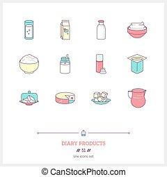 Milk farm fresh products icons.