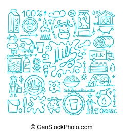 Milk farm, icons collection for your design. Vector illustration
