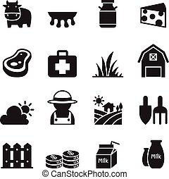 Milk farm Icons set