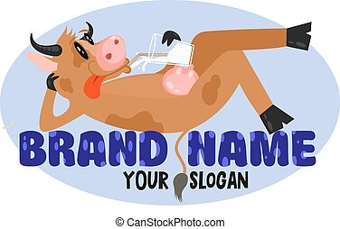 Funny cartoon cow lies on the letters and drinks milk. Cow milk farm logo design vector template. Fresh organic meat farmer products Logotype concept icon. For Food logo, Milk, Cheese, Yogurt product.