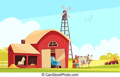 Milk farm composition with suburban landscape and farm buildings with human character of farmer milking cow vector illustration