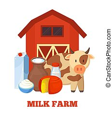 Milk Farm Poster and Cow, Vector Illustration