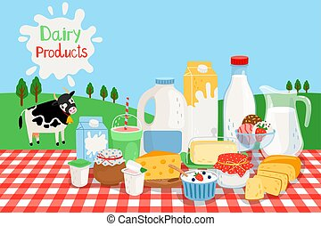 Milk farm products vector illustration. Nature green fields country landscape with cow and dairy industry food, organic farms production and rural meadow