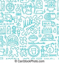 Milk farm, seamless pattern for your design. Vector illustration