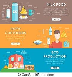 Milk flat banner set