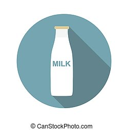 Milk Flat Icon with Long Shadow, Vector Illustration