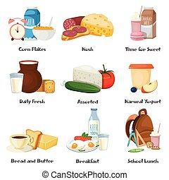 Milk Food Decorative Icons Set
