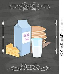 Milk food vector still life poster. Restaurant menu concept. Dairy products, pancakes, cheese