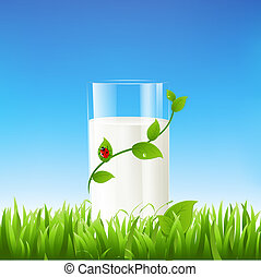 Milk Glass, Vector Illustration