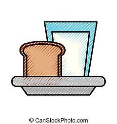 milk glass with slice bread breakfast food vector...