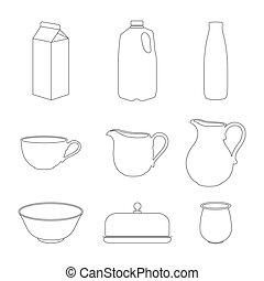 Milk icons set. - Milk icons set, thin line style, flat...