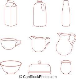 Milk icons set.