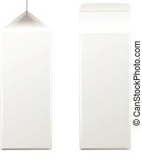 milk., illustration., パッケージ, collection., 包装, ジュース, プロダクト, ベクトル, 日記, 白, ボール紙, ∥あるいは∥