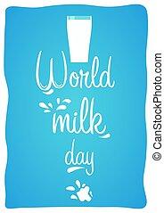milk., illustration., day., glas, vektor, welt, milch