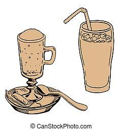milk., ilustração, pires, vetorial, café, colher, cacau, assalte