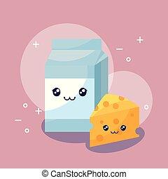 milk in box and cheese kawaii character