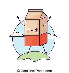 milk in box in landscape kawaii style