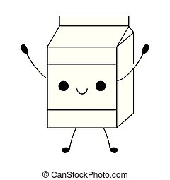 milk in box kawaii style