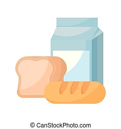 milk in box with breads isolated icon