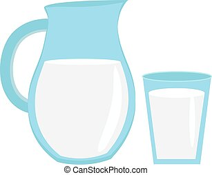 Milk in jug of glass,  with  icon flat style. Isolated on white background. Vector illustration.