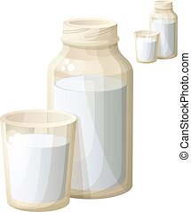 Milk in the glass and bottle. Detailed Vector Icon isolated on white background