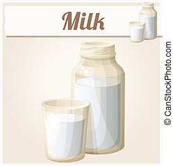 Milk in the glass and bottle. Detailed Vector Icon