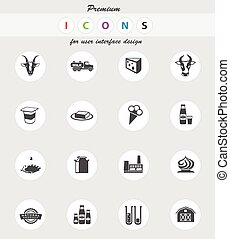 Milk industry icons set - Milk icons set for web sites and...
