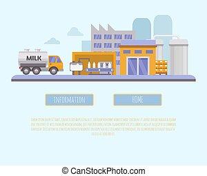 Milk industry vector illustration. Organic farming, milk...